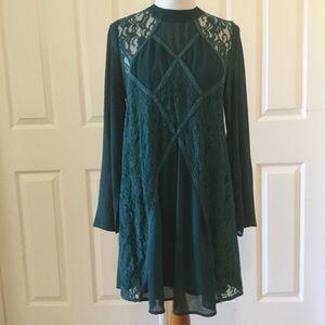 Gorgeous She & Sky Forest Green Lace Boho Dress